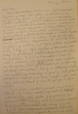 První strana dopisu architektovi Karlovi Honzíkovi (15. září 1946)