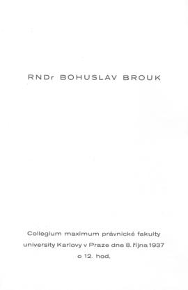 Pozvánka, promoce 8. října 1937