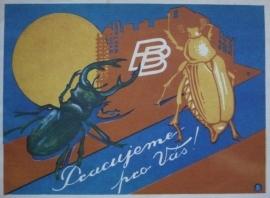 Brouk a Babka – Pracujeme pro Vás! (obálka propagační brožury obch. domu v Praze 7-Letné), nedatováno