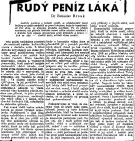 Bohuslav Brouk: Rudý peníz láká (Svobodný zítřek, Paříž, 21. 10. 1948)